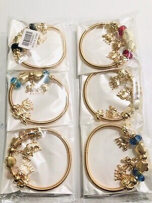 Wholesale 12pcs Mix Diamond RhineStone Elephant Charms Bracelet Bangle Set