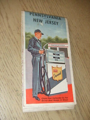 1963 Atlantic Oil Gas Pennsylvania New Jersey Red Ball Highway Road Map PA NJ