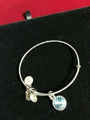 1-Alex and Ani Silver Tone Light Blue Swarovski Crystal Bracelet  Adj  Alex 1 Light
