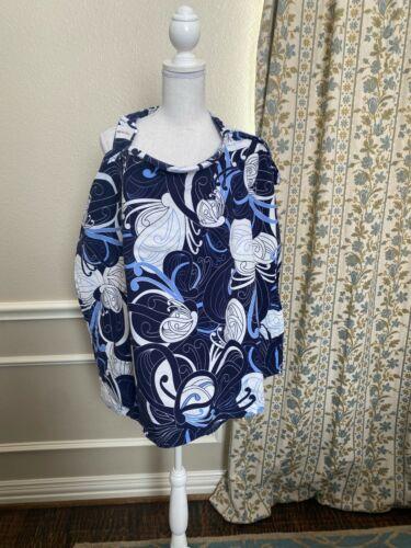 BeBe au Lait Nursing Cover Breastfeeding Blue White Floral Like Milk Snob Pocket