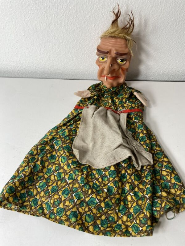 Vintage Cloth & Vinyl w/ Hair Witch / Old Lady Hand Puppet