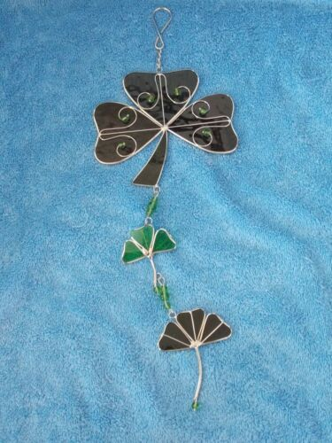 Irish 3 Leaf Clover Shamrock Stain Glass & Beaded Suncatcher
