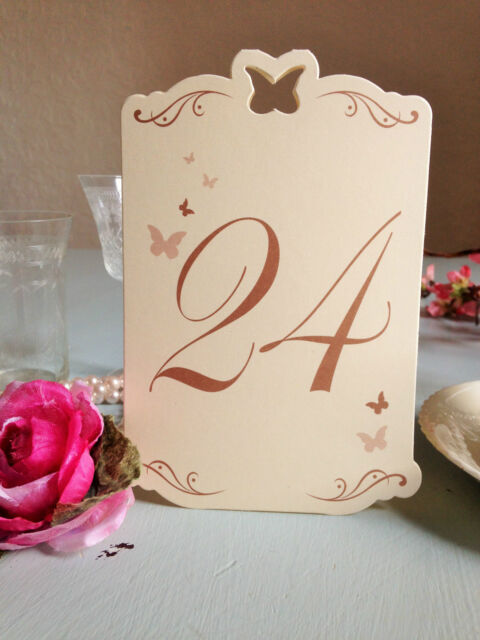 Butterfly Table Numbers Ivory Gold Vintage 13-24 Wedding Restaurant Pub Cafe