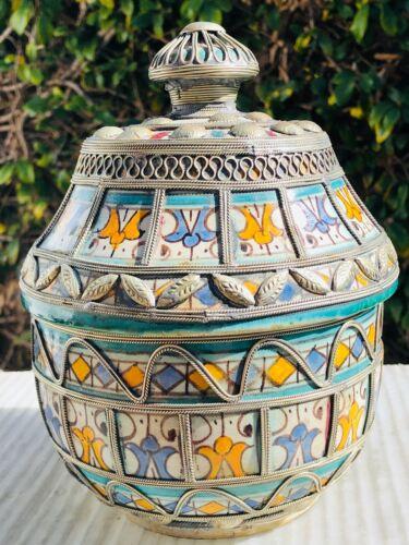Antique Moroccan Pottery Lidded Vessel Jar Traditional Geometric Design
