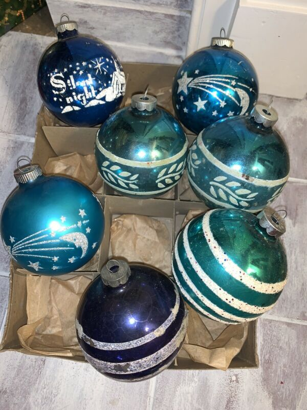 Lot 7 Vintage Christmas Ornaments Shiny Brite Jumbo Blue Mica