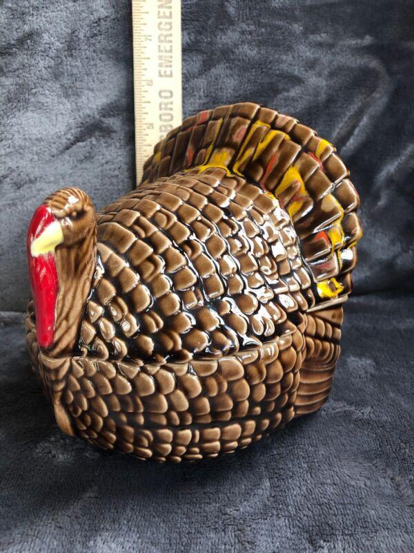 Vintage Turkey Candy Dish Ceramic Brown Orange Yellow Lidded Thanksgiving