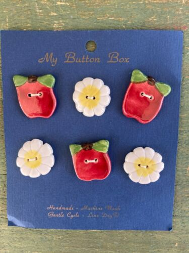 My Button Box Ceramic Buttons Apple Daisy Flower 6 Buttons Vintage