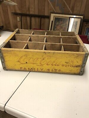 Vintage Coca-Cola Wooden Coke Yellow Soda Pop Crate Carrier Box case wood