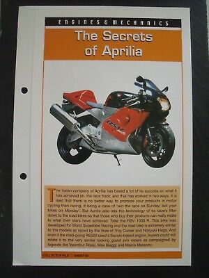 engine & mechanics THE SECRETS OF APRILIA collector file fact sheet.