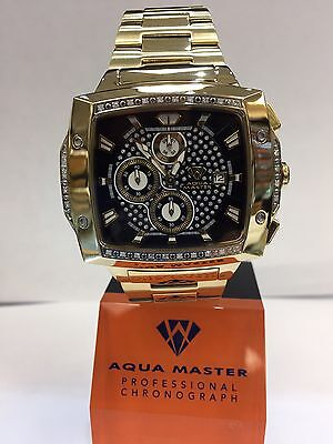 Men Aqua Master Jojo Jojino Joe Rodeo Yellow Metal Band 51Mm Diamond Watch W 354