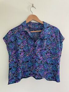 Vintage 80's handmade silky style button mid crop box top blouse 6-10