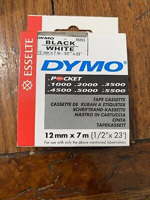 Dymo 1000 4500 5000 Tape 12 Black On White 45013 Old Style New