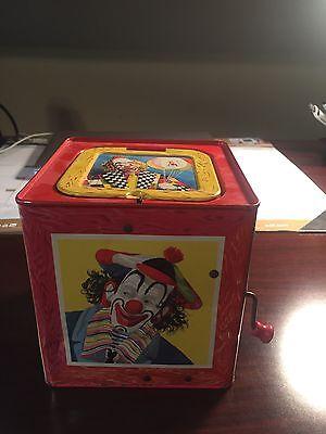 Vintage 1950's Mattel Jack In The Box Creepy Clowns Metal Toy