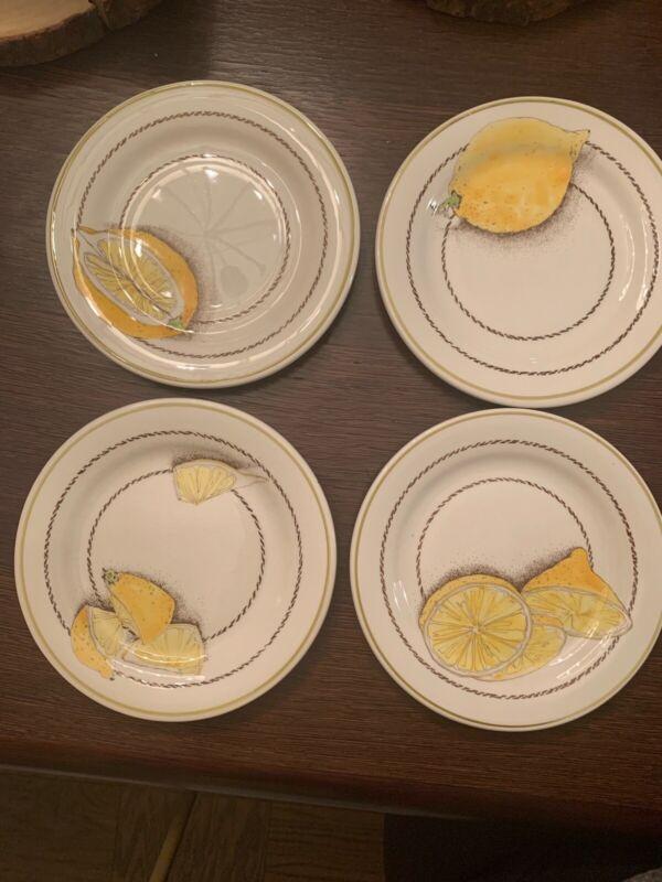 Gien France - Lemon Dessert Plates Set of 4