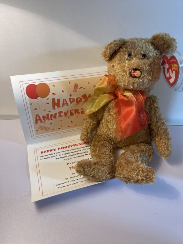 Ty BEANIE BABY M.C.ANNIVERSARY BEAR 4TH Edition MasterCard Exclusive New W/ Tags