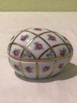 Vintage Limoges France Pink Rose Egg Shaped Trinket Box Gold Accent Lines