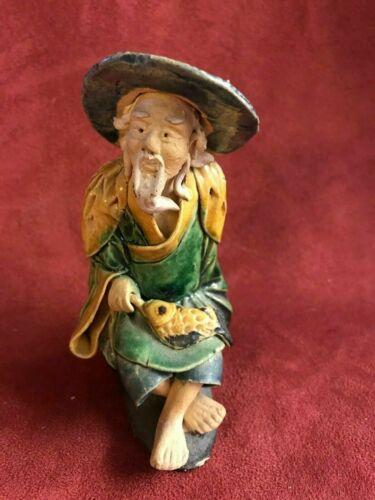 "1933 Chinese Mud Man Fisherman Figurine Shiwan Ceramic Art Pottery 4.5"" Tall"