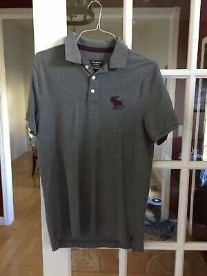 Abercrombie & Fitch Mens Polo Shirt Large Gray EUC