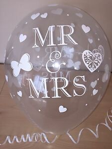 Clear Printed ☆ Mr & Mrs Wedding Balloons ☆ Butterfly Heart Helium Quality x 10