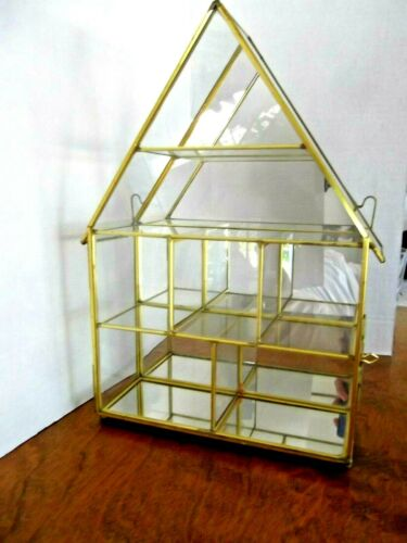 BRASS AND CLASS CURIO DISPLAY CABINET - MIRROR BACK