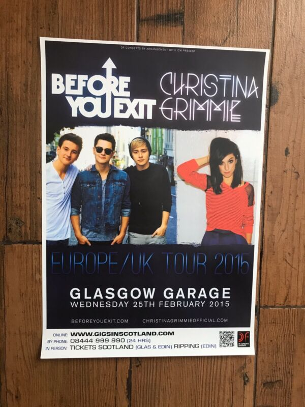 Original Before You Exit / Christina Grimmie 2015 Concert Poster