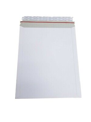 100 - 9.75x12.25 Stay Flat Rigid Mailer Cardboard White Envelope Photo