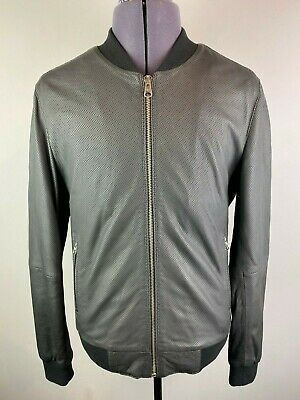 SUPERDRY IDRIS ELBA LEADING LEATHER PERFORATED BOMBER JACKET L RRP £395 NWOT NEW