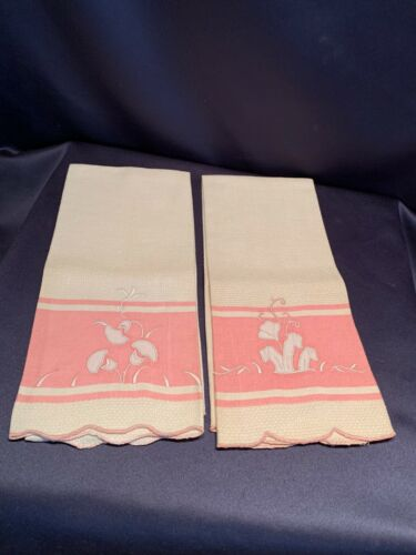Pair Antique Edwardian Pink + White Linen Towels Hand Embroidered