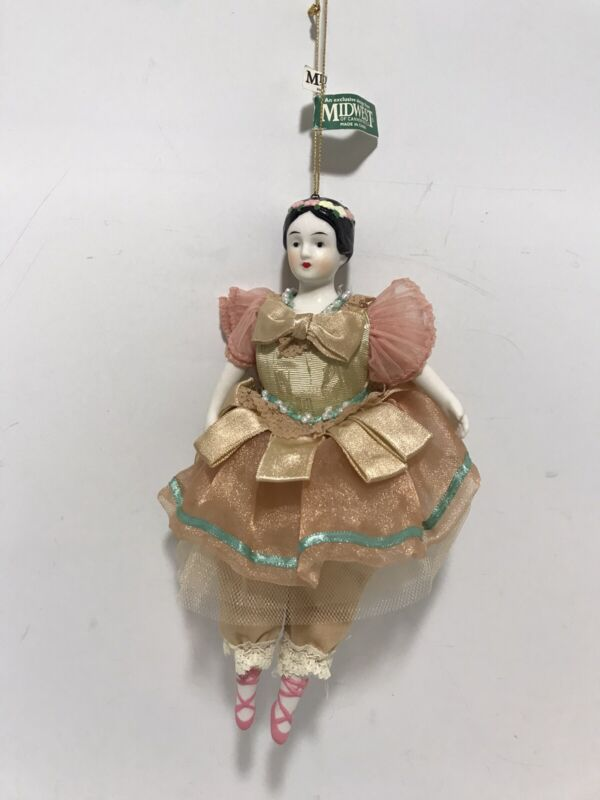 Vintage Porcelain Victorian Ballerina Dance Doll Midwest Christmas Ornament