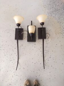 3 wall sconces