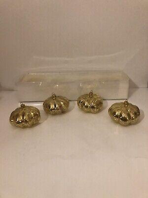 Pumpkin Ornament Placecard Holders Gold Crackle Design Parties, Shower, Wedding