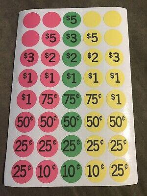 800 Round Neon Garage Sale Yard Sale Flea Market Price Sticker Labels - Fast