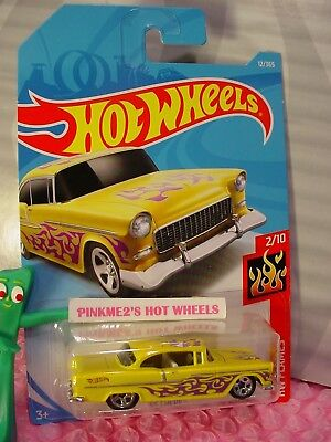 '55 CHEVY #12 WW✰yellow/chrome;purple; 5sp✰HW FLAMES✰2018 i Hot Wheels CASE A/B