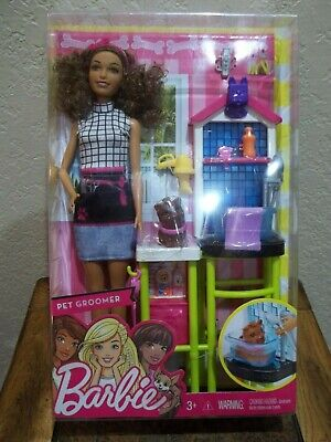 PRETTY HISPANIC BARBIE PET GROOMER PLAY SET WITH DOG & ACCESSORIES-NEW IN BOX