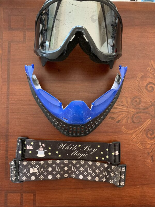 JT Proflex Black And Blue Paintball Mask With 2 Straps And Chrome Lens