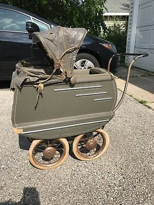 Antique F.A. Whitney Baby / Doll Carriage Full Size Child Stroller Original Cond