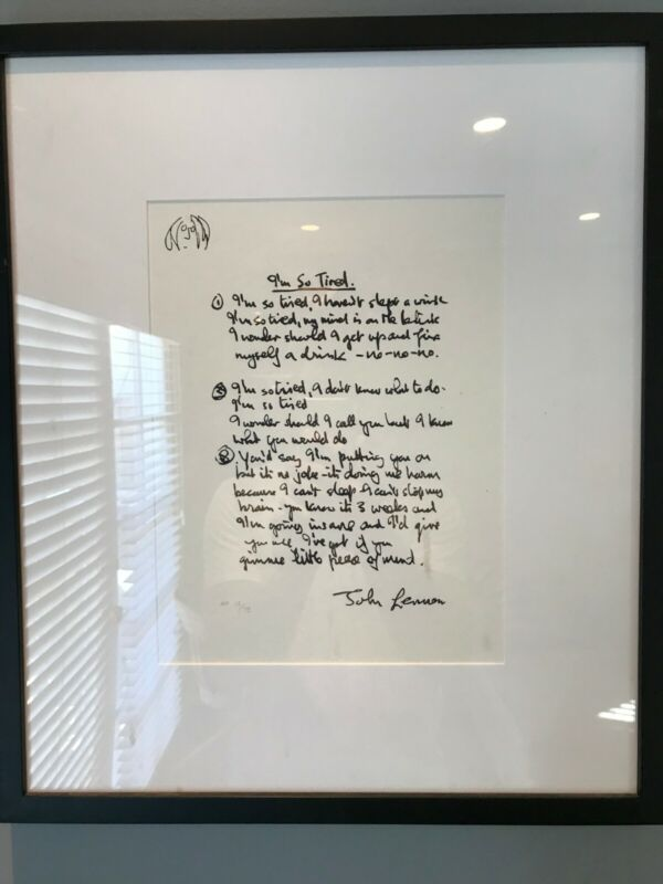 "John Lennon framed lyrics: The Beatles Years: ""I"