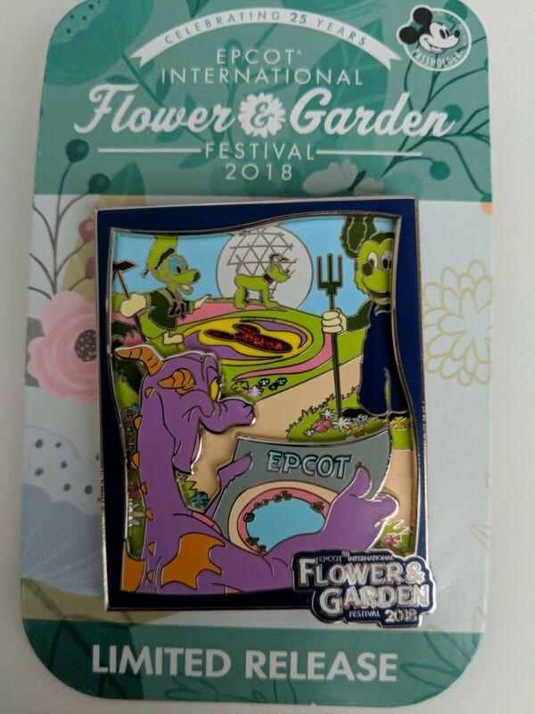 Disney Pin - WDW-Epcot Flower & Garden Festival 2018 - Annual Passholder Figment