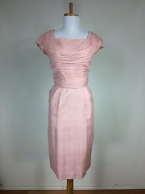 Vintage 1960s 50s Pink Chiffon Ruched Wiggle Clifton Wilhite Cocktail Dress S