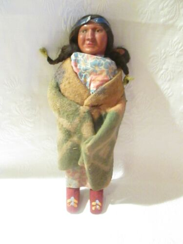 """Vintage Skookum Bully Good Indian Doll  w/Papoose 11"""" AS IS"""