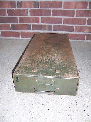 Vintage Safe-t-stak Green Metal Single Drawer Card File Cabinet Industrial