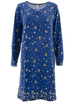 Elegant Emily Womens Blue Christmas Owl Long Sleeved Nightgown ()