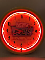 Eat at Joe's - Red Neon Retro Vintage Style Wall Clock - Cool!