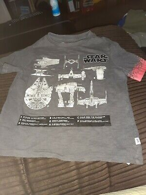 Grey Star Wars T Shirt By GAP XS Age 4-5 Years