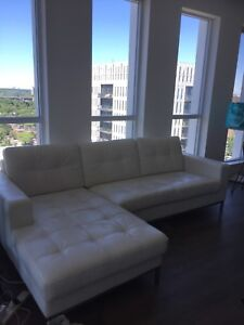 White Lund Leather Couch/Chaise