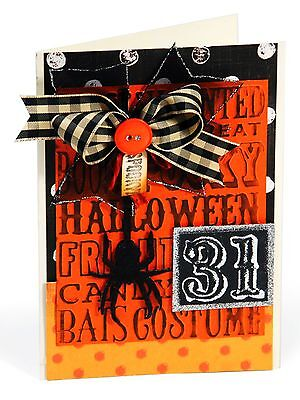 Sizzix Halloween Background & Borders Emboss 4pk set #657465 MSRP $10.99 T Holtz