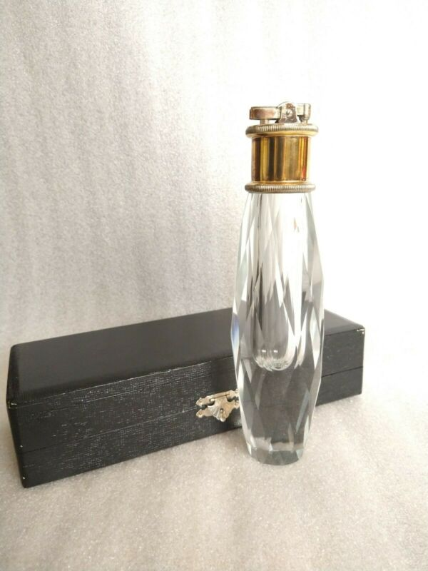 """9"""" Tall Crystal Glass Table Lighter with Original Case - AS IS / UNTESTED"""