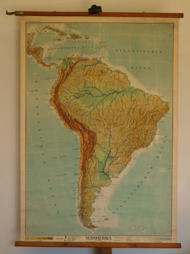 Wall Map South America 35x50in Physical~1948 Vintage Brazil Cuba Argentina