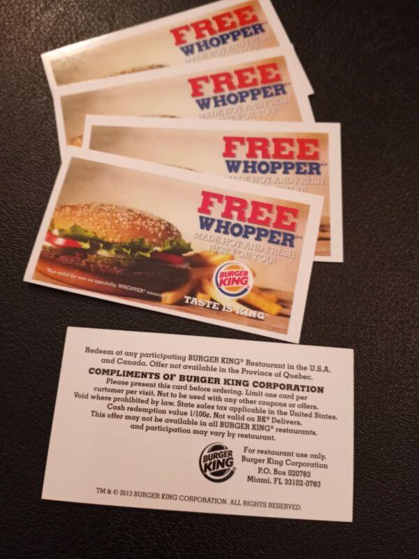 (5) Burger King Whopper Vouchers   (No Expiration) Free Ship