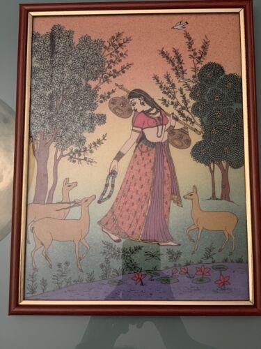 Framed Unique Handmade Gemstone Painting BEAUTIFUL WOMAN IN GARDEN 9.5 X 12.5  - $26.99